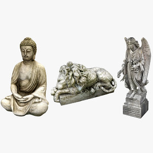3D model statues buddha angel