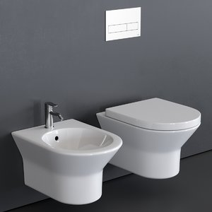 3D model tono toilet wall-hung bidet