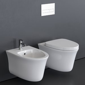 hotels toilet wall-hung bidet 3D