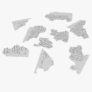 torn letter pieces 3D