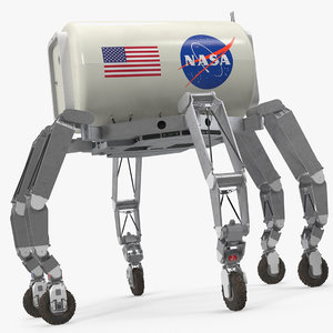 3D model athlete lunar rover rigged