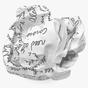 3D crumpled paper ball text model