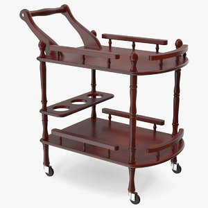 3D wooden serving trolley model
