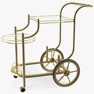 luxury golden serving trolley model