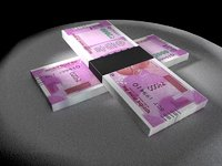 3D currency note rupee model