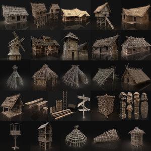 3D aaa medieval village
