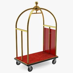 gold luxury hotel luggage 3D