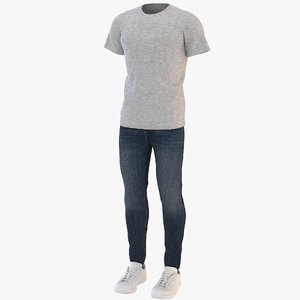 men t-shirt jeans sneakers 3D model