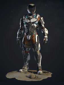 3D model pbr character lunar suit