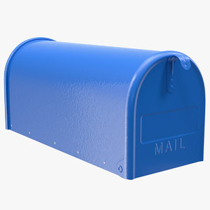 3D blue painted mailbox mail