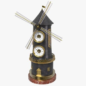 windmill clock 3D model