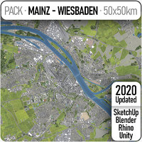 mainz - wiesbaden surrounding 3D