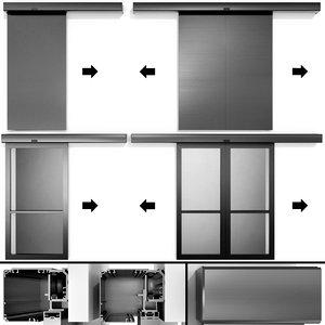 automatic sliding metal doors 3D