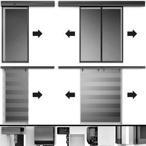 3D automatic sliding metal glass doors model