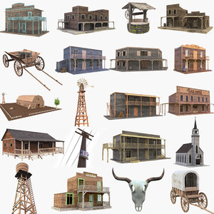 3D wild west house western saloon