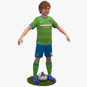 3D soccer player 4k 2020 model