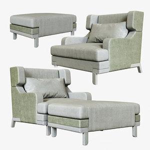 fauteuil basil pouf otto 3D