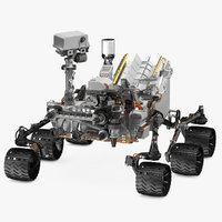 curiosity mars rover rigged 3D model
