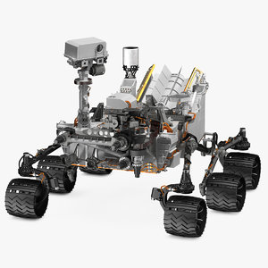 curiosity mars rover rigged 3D model