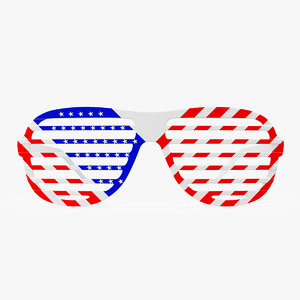 american flag shutter sunglasses 3D model