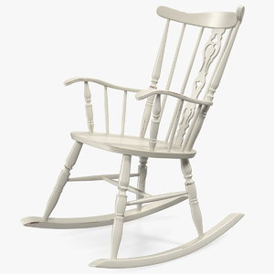 3D antique wooden rocking chair model