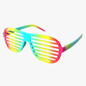 3D party rainbow shutter shades model