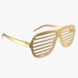 shutter shades gold glasses 3D