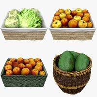 3D wicker baskets fruits