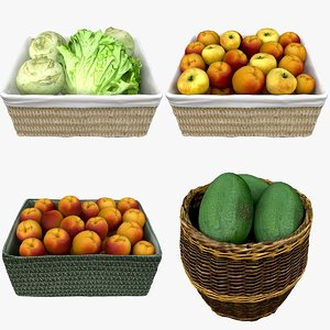 3D wicker baskets fruits