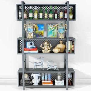 3D shelf cabinet decor model