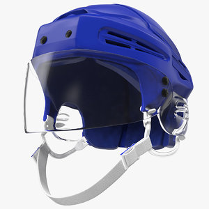 3D model hockey helmet blue