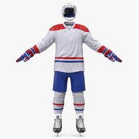 hockey equipment white 3D model