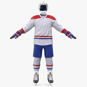 hockey equipment white 3D model