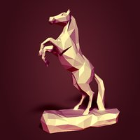 Low Poly Horse Statue Ready for 3D Printing