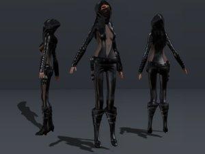 3D female hooded ninja character