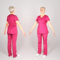 Middle-aged woman in red surgical uniform in A-pose 126