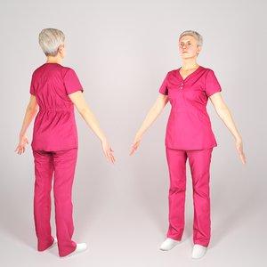 human middle-aged woman uniform 3D model