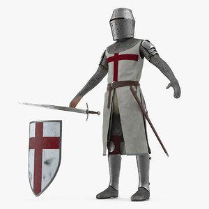 3D knight templar t-pose set