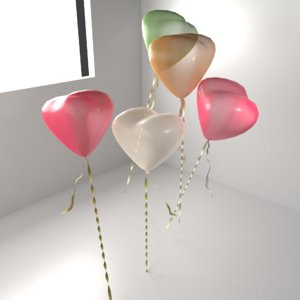 random color heart shape 3D model