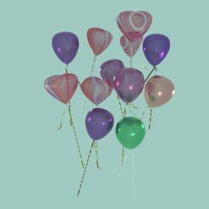 3D model heart balloons mix