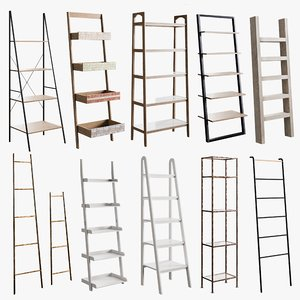 3D model realistic rack ladder bookcase