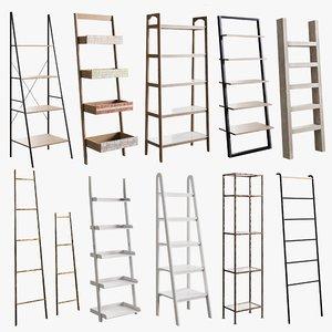 3D model realistic rack ladder bookcase