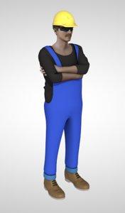 3D model male man people workman