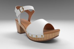 3D anddreas platform block-heel sandals model