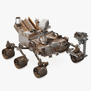 3D curiosity mars rover dusty