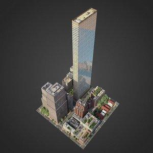 3D model city exterior streets