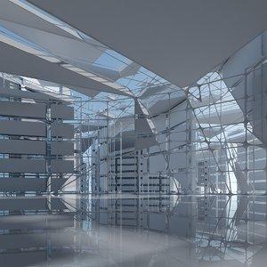 3D model futuristic architectural interior