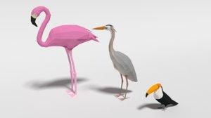 3D exotic birds