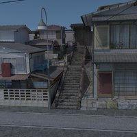 3D model old japanese scene buildings