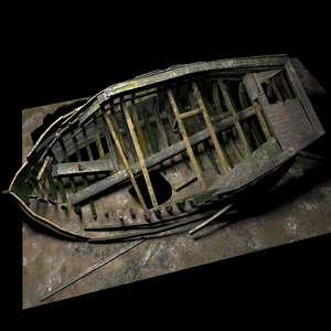3D shipwrecked boat